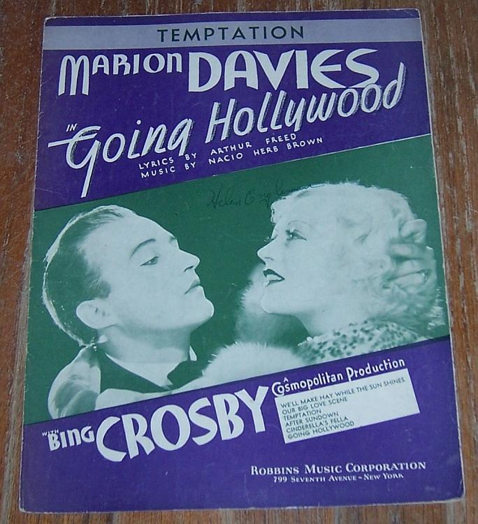 emptation Movie Going Hollywood Marion Davies/Bing Crosby 1933 Sheet Music