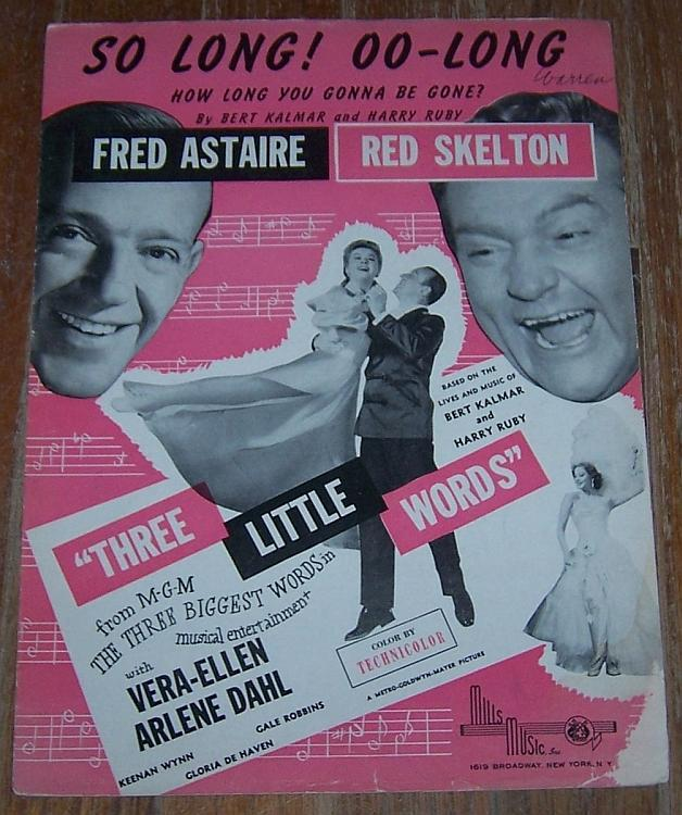 So Long Oo-Long From Three Little Words Fred Astaire/Red Skelton Sheet Music