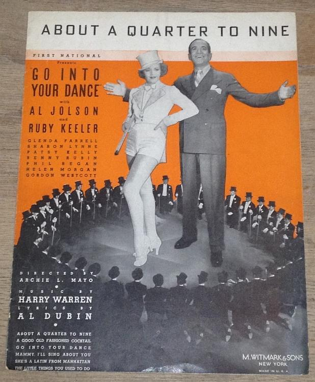 About a Quarter to Nine starring Al Jolson and Ruby Keeler 1935 Sheet Music