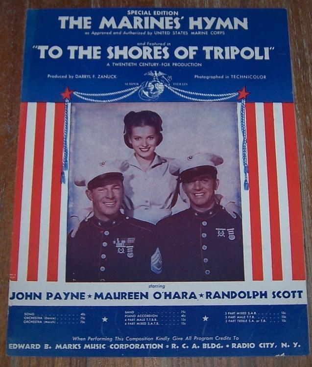 Marines' Hymn Official Song From Movie John Payne/Maureen O'Hara Sheet Music