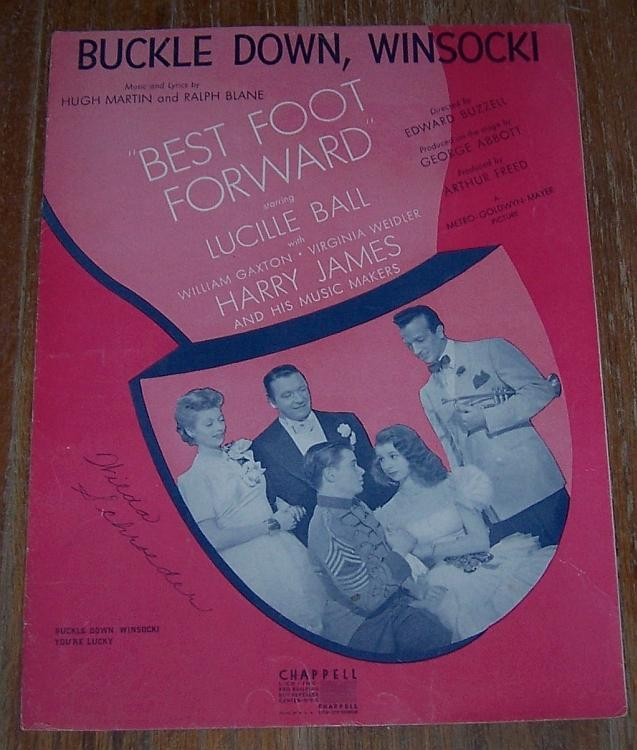 Buckle Down, Winsocki From From Best Foot Forward Lucille Ball 1941 Sheet Music