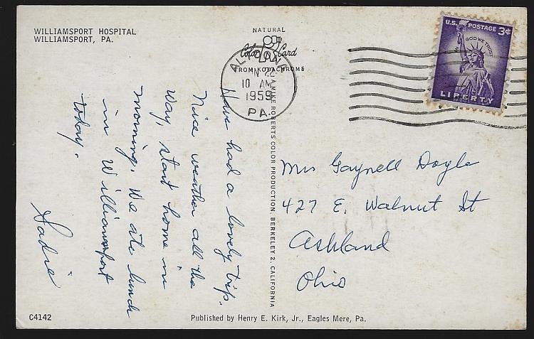 Vintage Postcard of Williamsport Hospital, Williamsport, Pennsylvania 1959