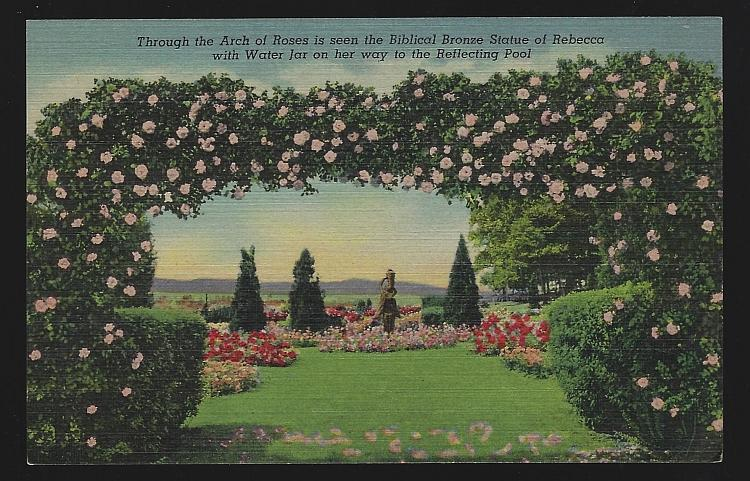 Vintage Postcard Arch of Roses Bronze Statue of Rebecca, Hershey, Pennsylvania
