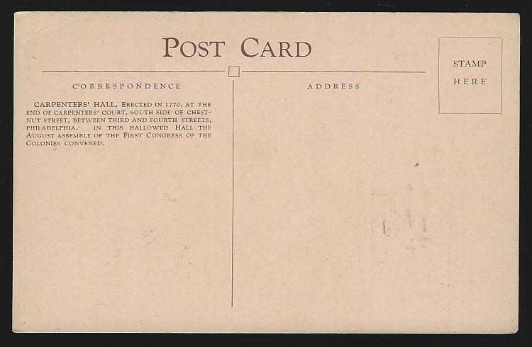 Vintage Unused Postcard of Carpenter's Hall, Philadelphia, Pennsylvania
