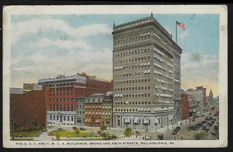 Postcard U.G. I. And Y.M. C.A. Buildings, Broad and Arch Streets, Philadelphia, Pennsylvania