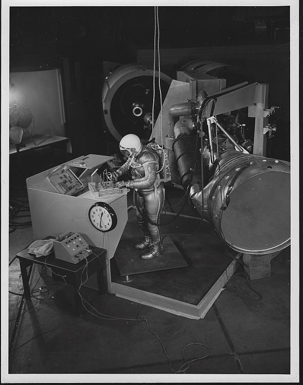 Original Photograph of Astronaut Working, Marshall Space Flight Center Alabama