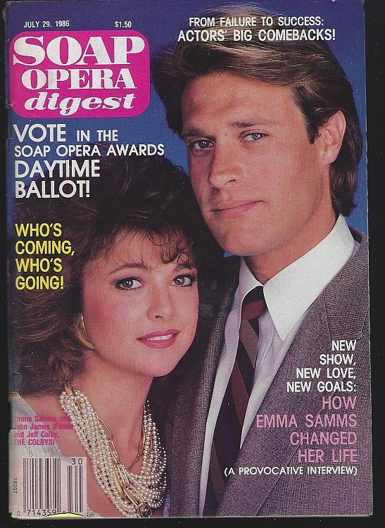 Soap Opera Digest July 29, 1986 Emma Samms/John James Colbys/Colleen Casey