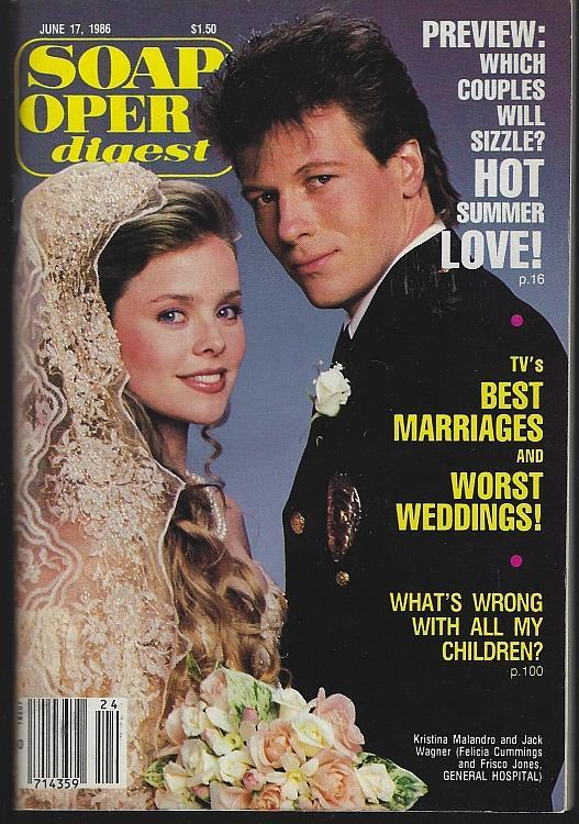 Soap Opera Digest June 17 1986 Felicia/Frisco General Hospital/Elizabeth Hubbard