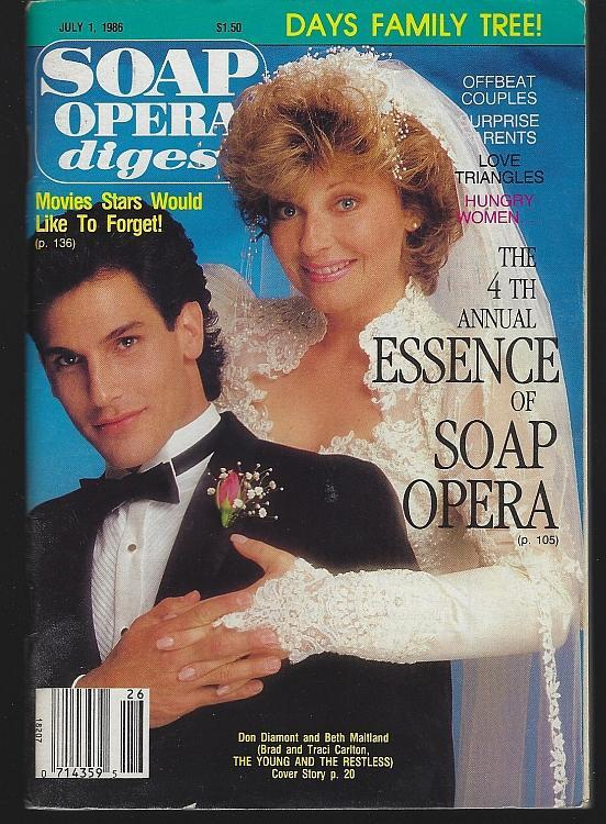 Soap Opera Digest July 1, 1986 Brad/Traci Young and Restless Cover/Bill Hayes