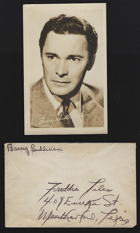 Vintage Original Studio Signed Postcard of Barry Sullivan with Original Envelope