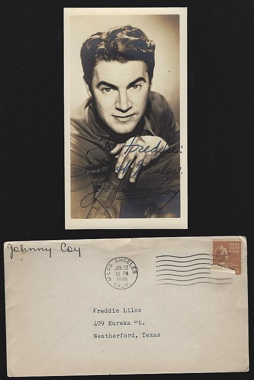 Vintage Original Studio Signed Photograph of Johnny Coy with Original Envelope