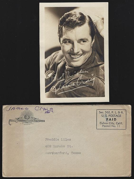 Vintage Original Studio Signed Photograph of James Craig with Original Envelope