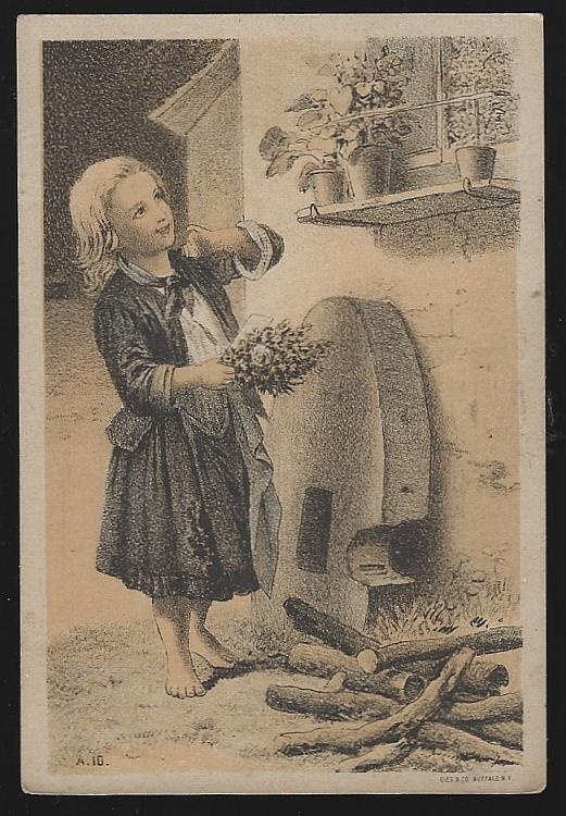 Victorian Trade Card F.F. Smith, Baker, Grocer with Lovely Girl Picking Flowers