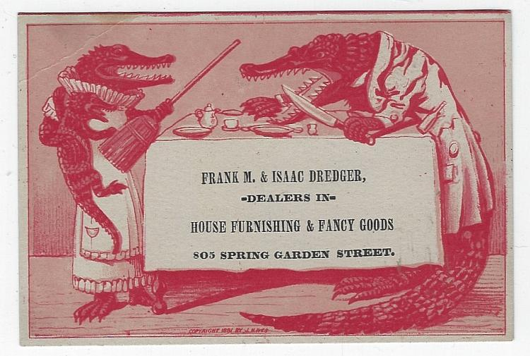 Victorian Trade Card Frank M./Isaac Dredger House Furnishings with Alligators
