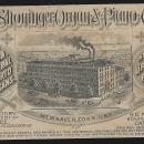 Victorian Trade Card for B. Shoninger Organ and Piano Happy Family Cherubs Roses