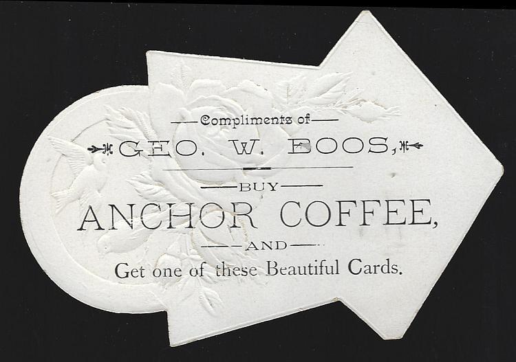Victorian Die Cut Trade Card for Anchor Coffee with Snowy Landscape with Birds