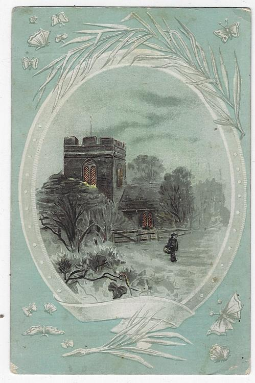 Victorian Trade Card for the Woolson Spice Company with Country Church Landscape