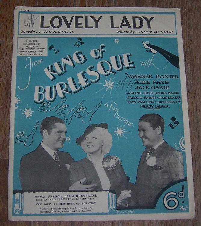 Lovely Lady Movie King of Burlesque Warner Baxter/Alice Faye 1935 Sheet Music