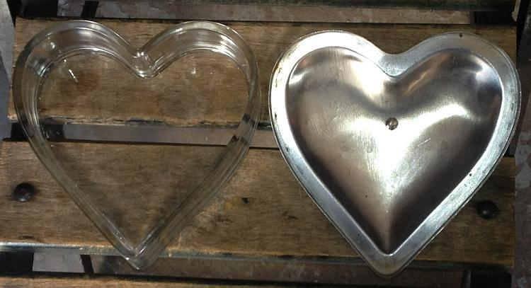 Vintage Glass Heart Box with Metal Lid and Red Heart Bakelite Knob
