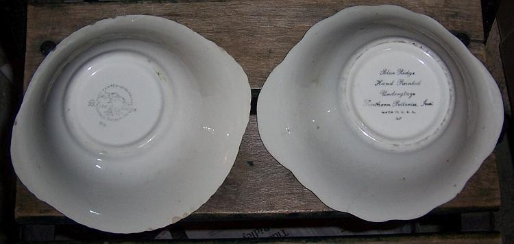 Lot of Two Blue Ridge Southern Pottery Tab Bowls Georgia Belle/Mountain Meadow