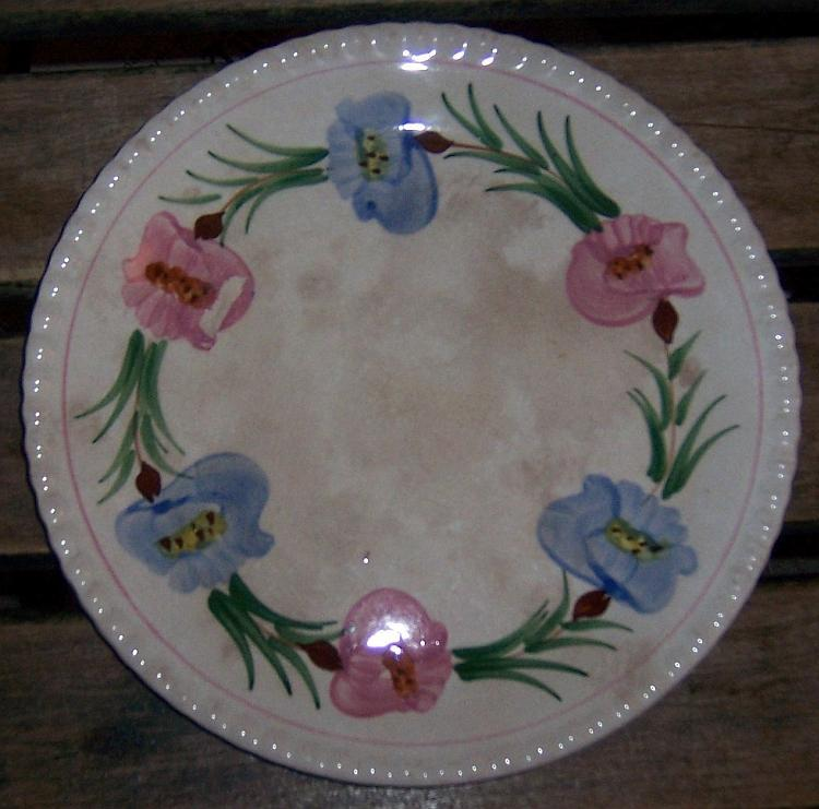 Blue Ridge Southern Pottery Dinner Plate Flower Wreath Pink and Blue Flowers
