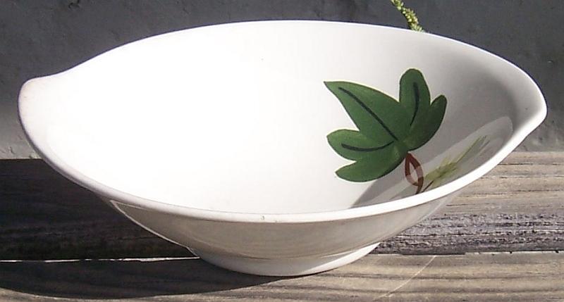 Vintage Blue Ridge Southern Pottery Baltic Ivy Tab Bowl White Bowl Green Leaves