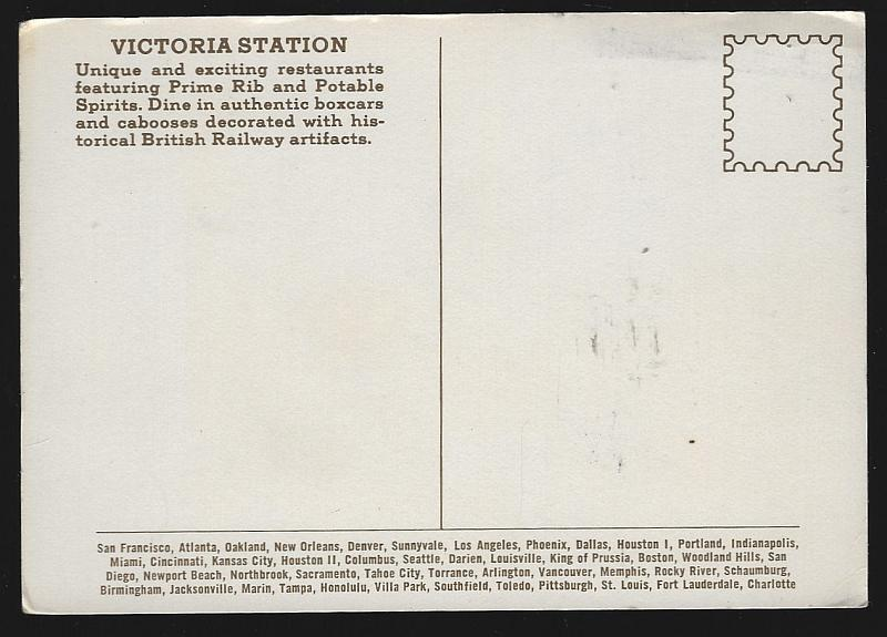 Postcard Victoria Station Restaurants Purveyor of Prime Rib and Potable Spirits