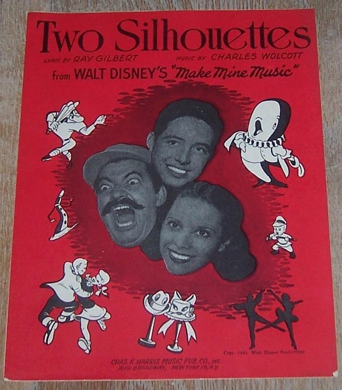 Two Silhouettes From Walt Disney's Make Mine Music 1945 Sheet Music
