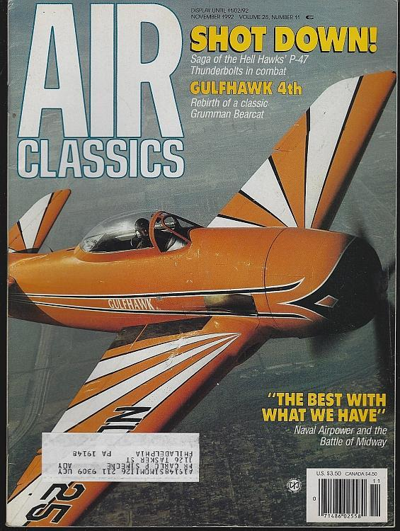 Air Classics Magazine November 1992 Gulfhawk Bearcat Cover/Hell Hawks/Midway