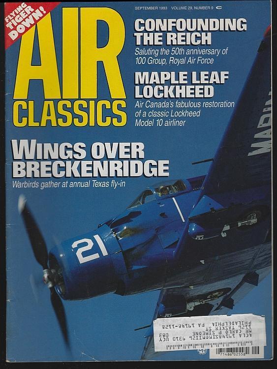 Air Classics Magazine September 1993 Skyraider Cover/Charlie Mott/Lockheed