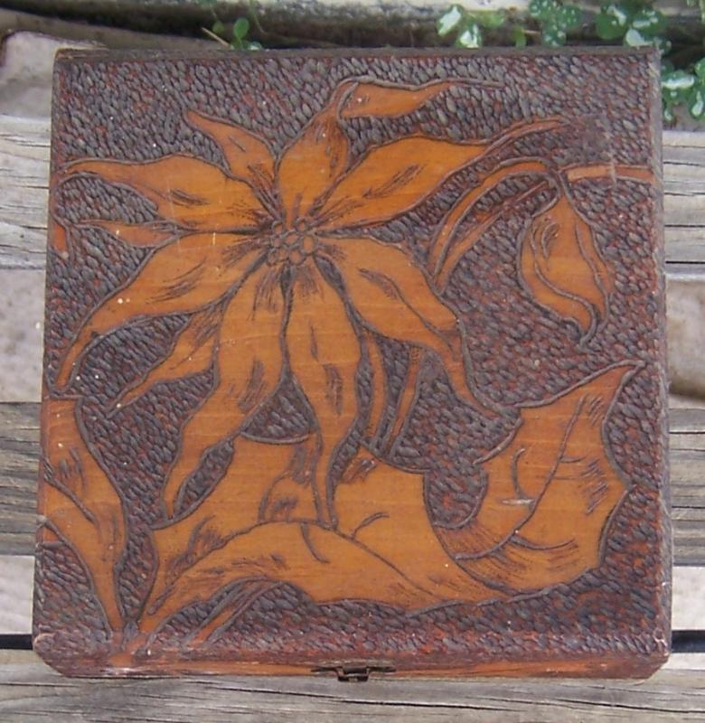 Vintage Pyrography Wooden Box with Poinsettias 1907 Christmas Gift Inscription