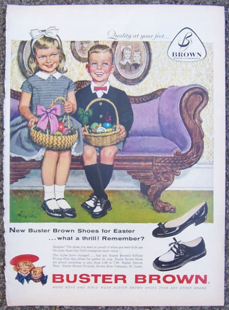 1959 Buster Brown Easter Shoes Magazine Advertisement