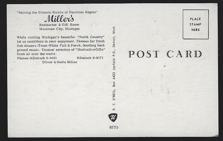 Miller's Restaurant Gift Room Mackinaw City, Michigan Vintage Unused Postcard
