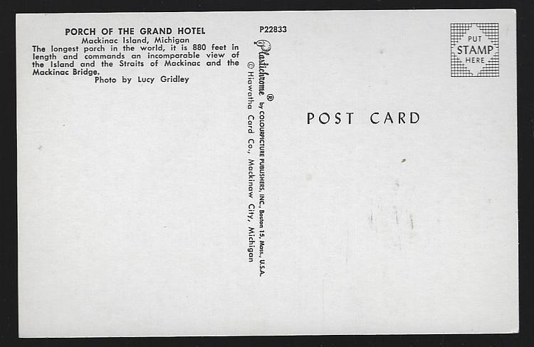 The Grand Hotel Porch, Mackinac Island, Michigan Vintage Unused Postcard Travel