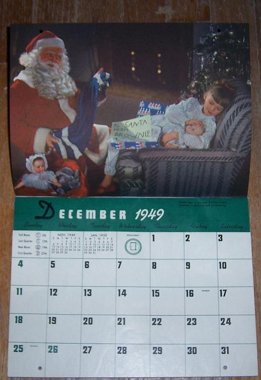 Girl Scout 1950 Calendar With Original Mailing Envelope Color Photographs 13 Months