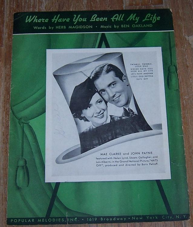 Where Have You Been All My Life Mae Clark/John Payne 1936 Movie Sheet Music