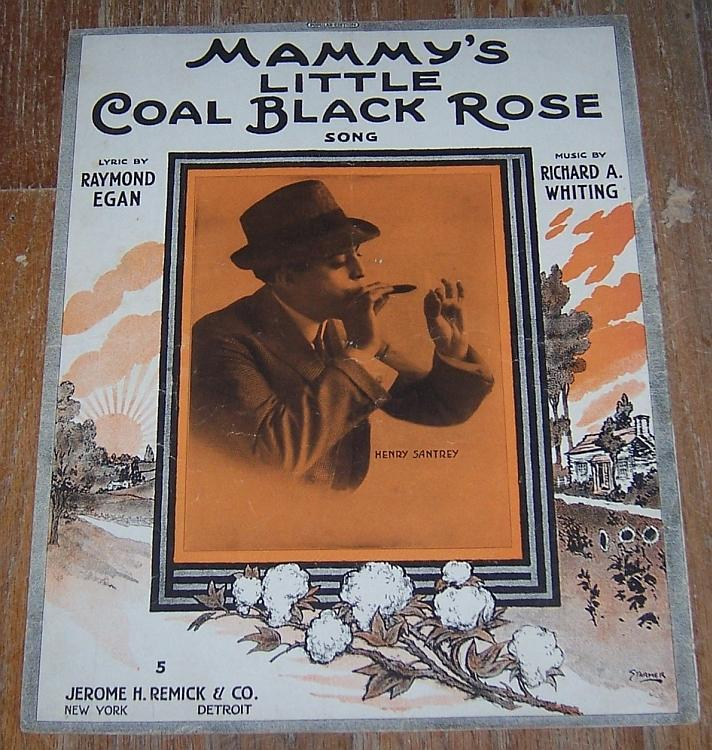 Mammy's Little Coal Black Rose Song Sung by Henry Santry 1916 Large Sheet Music