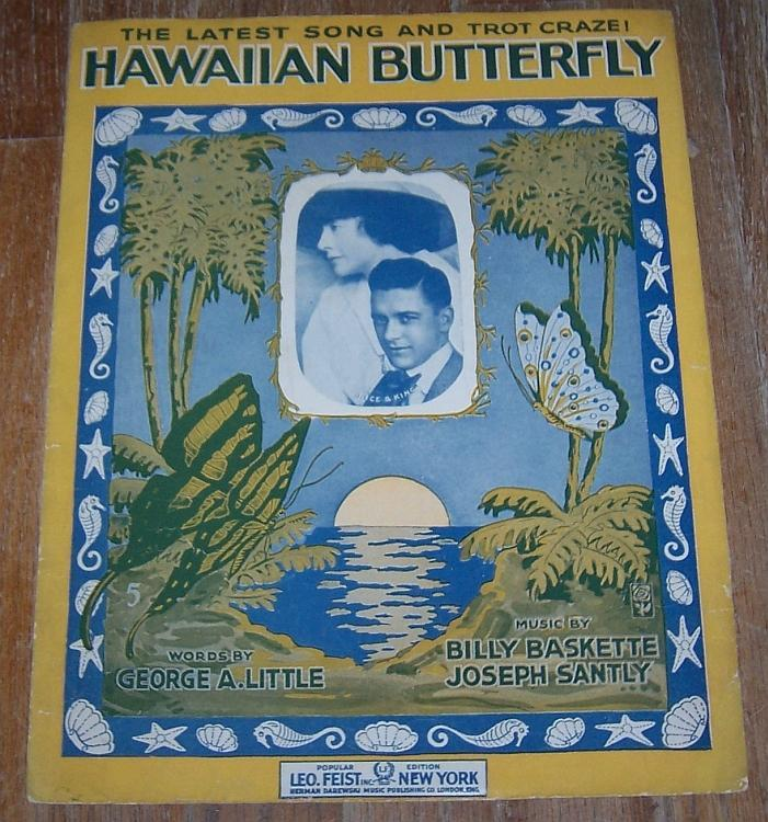 Hawaiian Butterfly 1917 Over Size Sheet Music Latest Song and Trot Craze