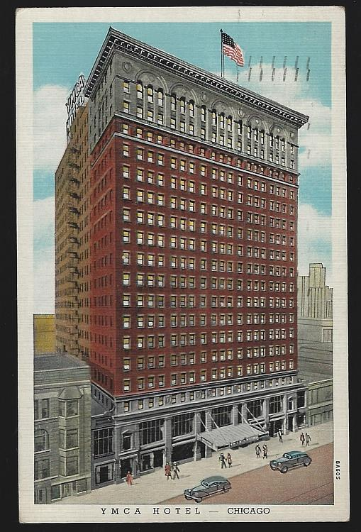 Vintage Postcard of YMCA Hotel 826 S. Wabash Ave Downtown Chicago, Illinois 1949