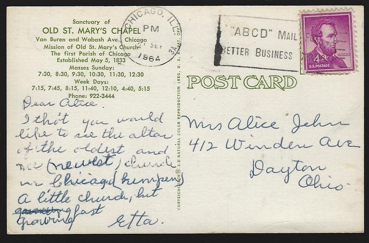 Sanctuary of Old St. Mary's Chapel, Chicago, Illinois 1964 Vintage Postcard