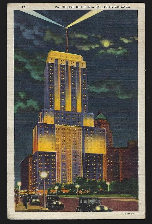Palmolive Building and Beacon By Night, Chicago, Illinois 1941 Vintage Postcard
