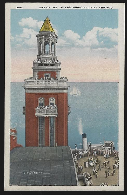 One of the Towers, Municipal Pier, Chicago, Illinois Vintage Unused Postcard