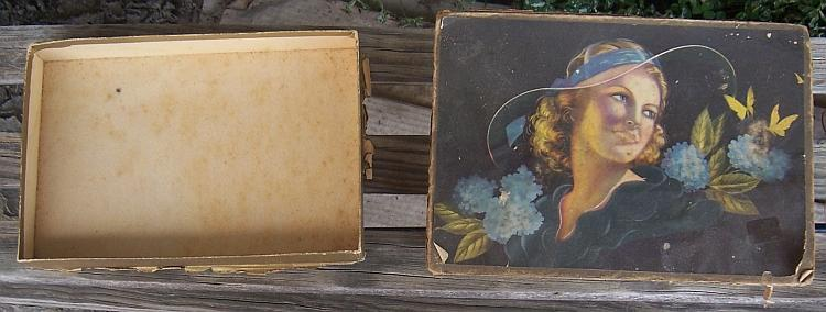 VIntage Candy or Chocolate Cardboard Box with Lovely Lady and Flowers on Top