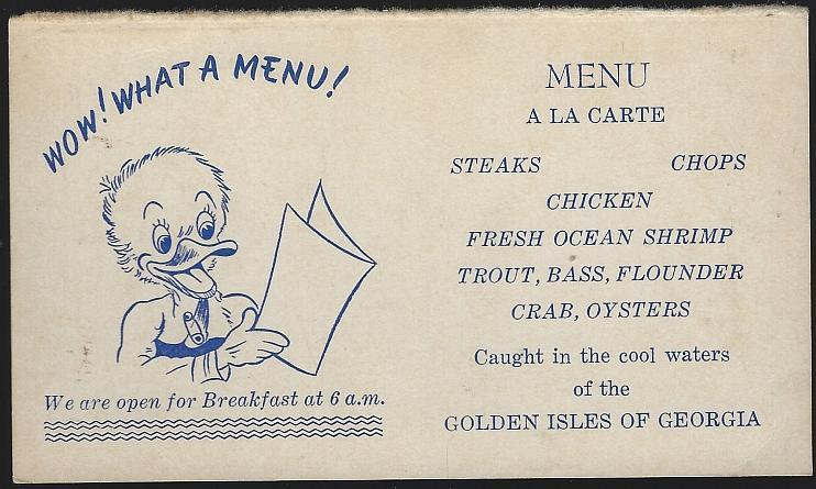 Tropical Restaurant, Brunswick, Georgia Vintage Unused Postcard