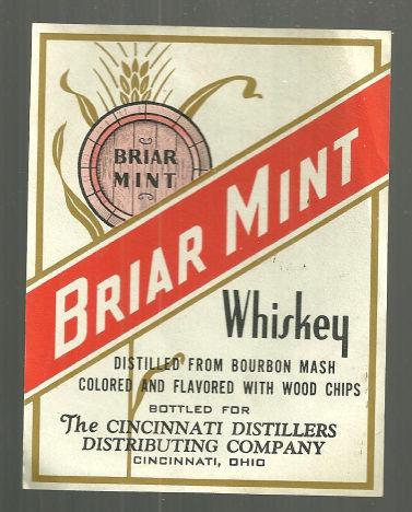 Vintage Briar Mint Whiskey Label Cincinnati, Ohio