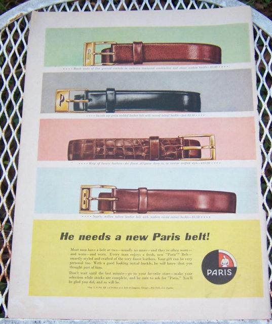 1956 Paris Belt Christmas Life Magazine Advertisement