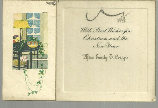 Vintage Merry Christmas and New Year Card with House