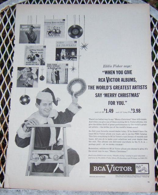 1956 Eddie Fisher Christmas Album Magazine Advertisement