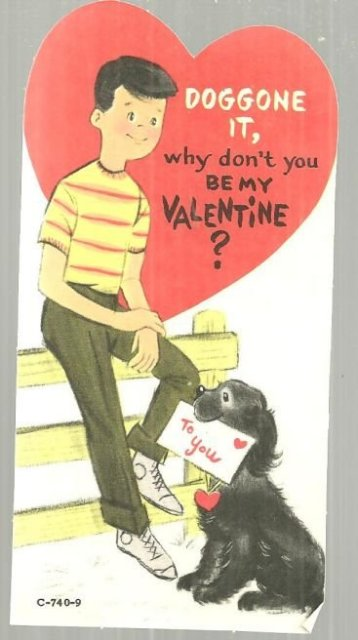 Vintage Valentine Card with Boy and His Dog Doggone It