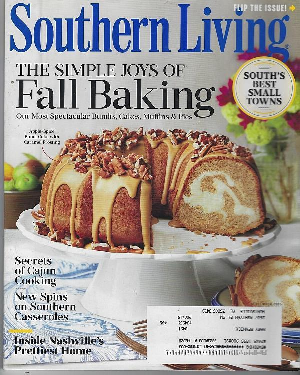 Southern Living Magazine September 2016 Fall Baking/Small Towns/Cajun Cooking